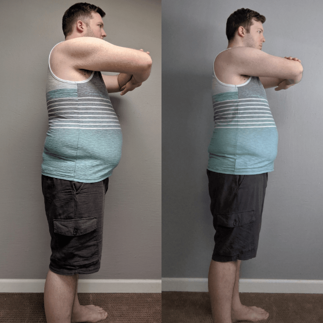 a before and after image of Josh M. after losing weight on the 131 Method